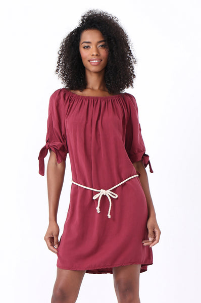 BELTED TIE SLEEVE DRESS