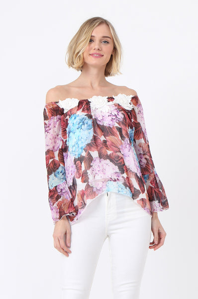 SILK FLORAL APPLIQUE TOP