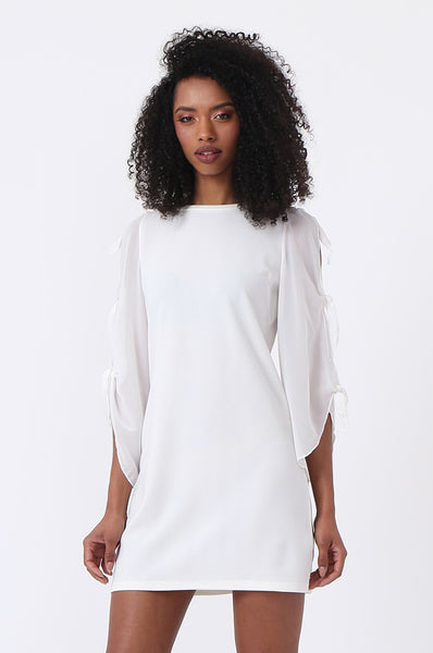 CHIFFON TIE SLEEVE DRESS