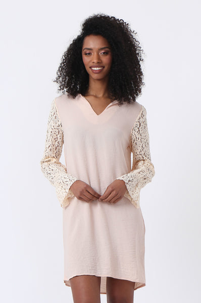 NOTCH NECK LACE SLEEVE DRESS