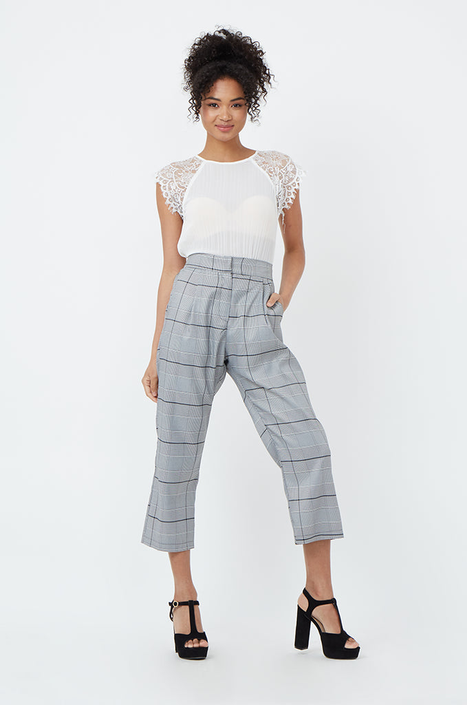 SPS1183-BLACK CHECK TROUSERS