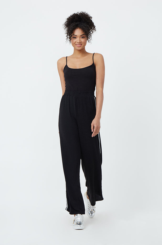 SPS1185-BLACK SIDE STRIPE WIDE LEG PANT