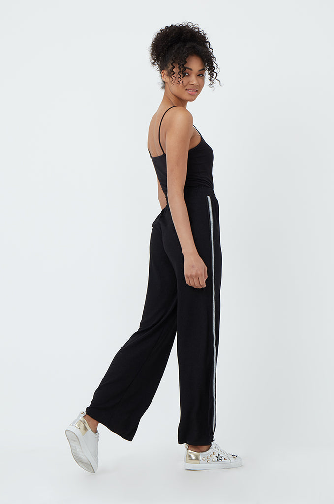 SPS1185-BLACK SIDE STRIPE WIDE LEG PANT view 3