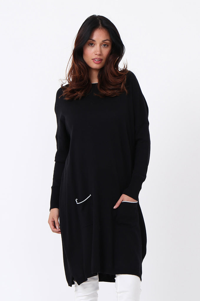 SPS1189-BLACK METALLIC TRIM POCKET DRESS view 2