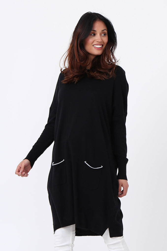 SPS1189-BLACK METALLIC TRIM POCKET DRESS view 3