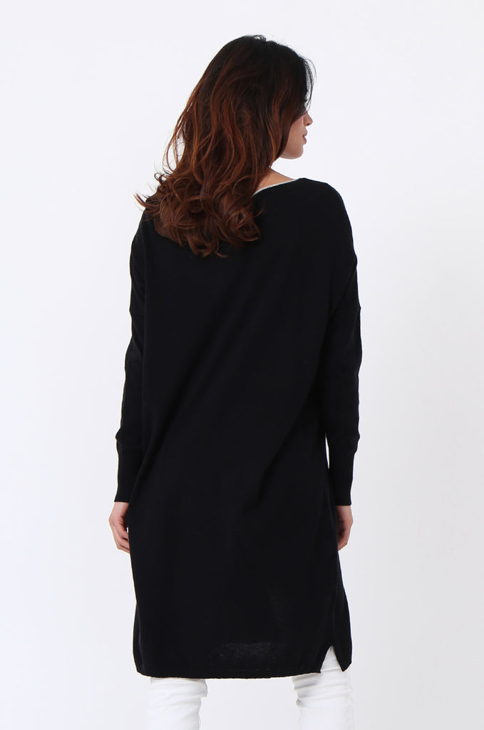 SPS1189-BLACK METALLIC TRIM POCKET DRESS view 4