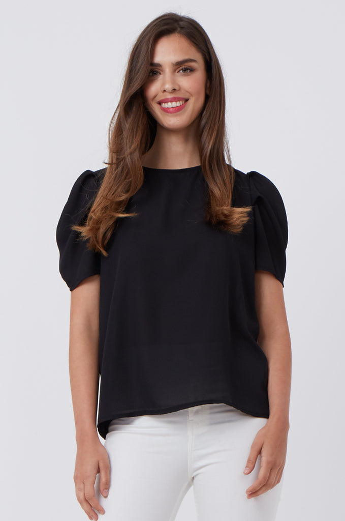 SPS1196-BLACK PUFF SHOULDER BLOUSE view main view
