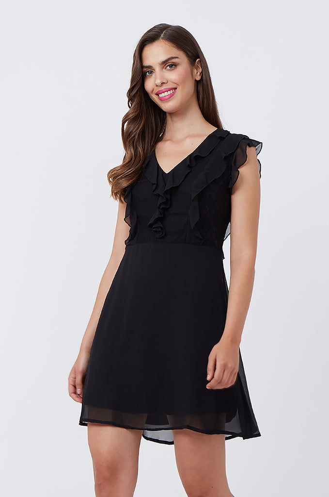 SPS1198-BLACK FRILL & LACE FRONT DRESS view 2