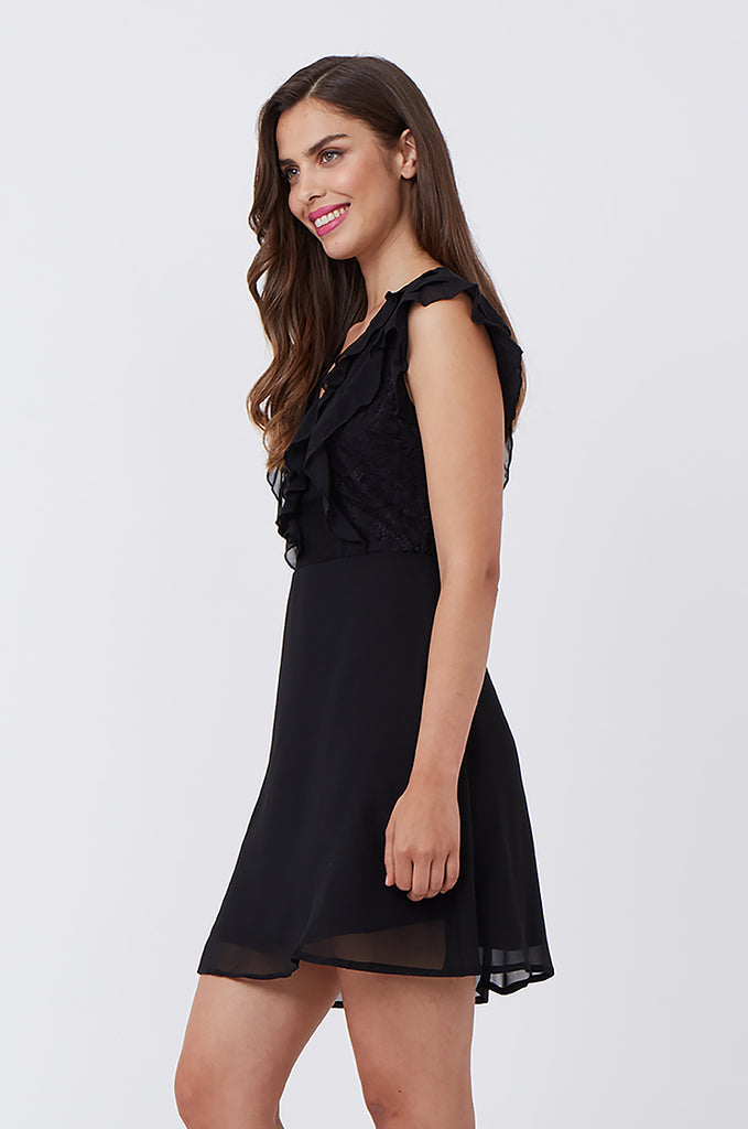 SPS1198-BLACK FRILL & LACE FRONT DRESS view 3