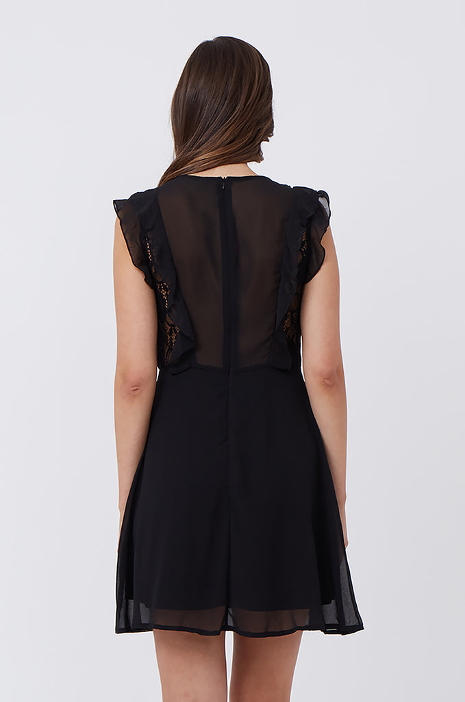 SPS1198-BLACK FRILL & LACE FRONT DRESS view 4