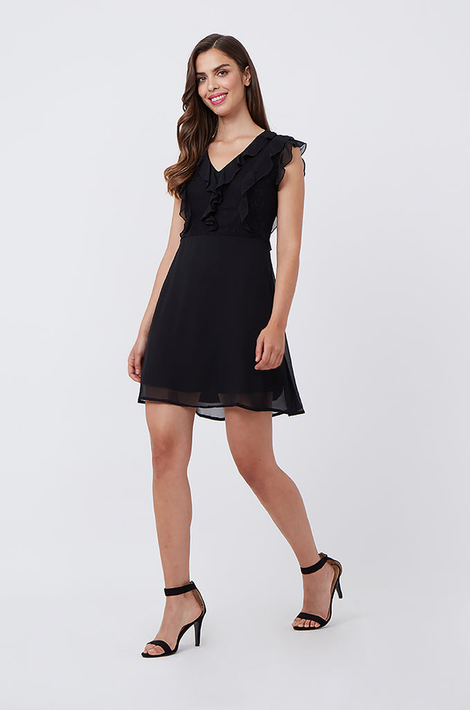 SPS1198-BLACK FRILL & LACE FRONT DRESS