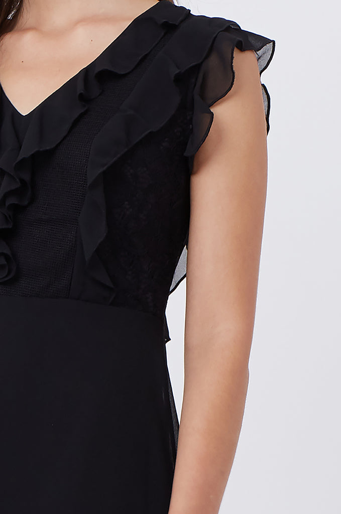 SPS1198-BLACK FRILL & LACE FRONT DRESS view 5