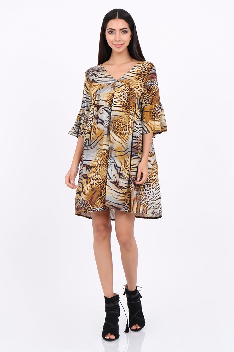 sps2131-yellow animal print flare sleeve dress - os
