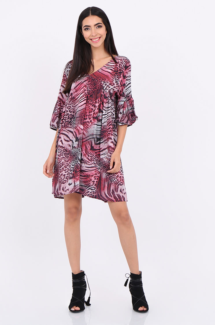 sps2131-pink animal print flare sleeve dress - os