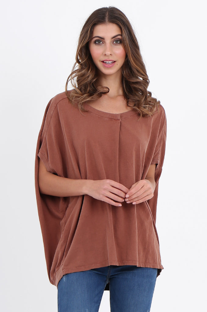 SPS2141-TAN EXTENDED SHOULDER RELAXED FIT TOP