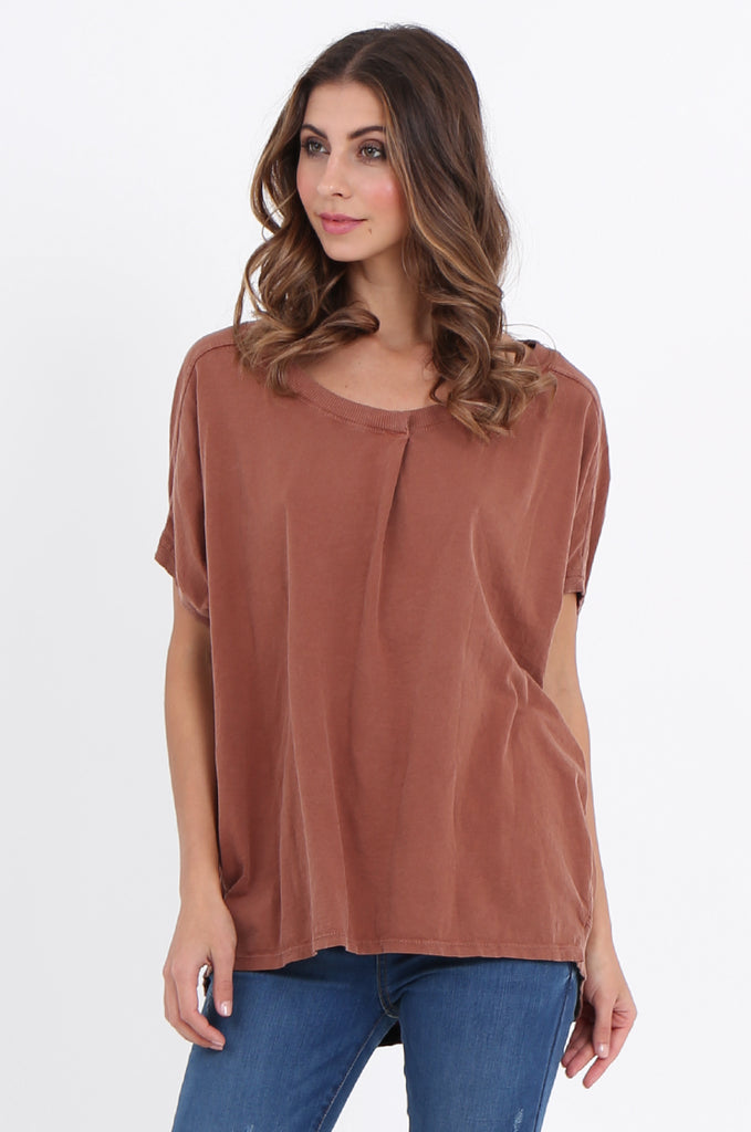 SPS2141-TAN EXTENDED SHOULDER RELAXED FIT TOP view 2