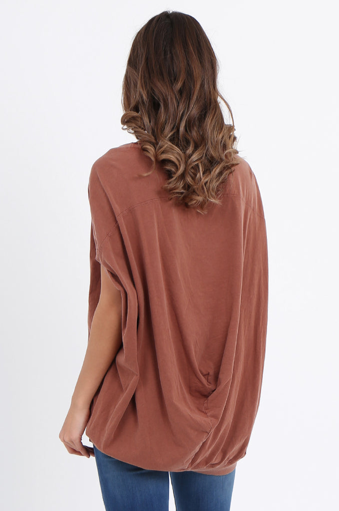 SPS2141-TAN EXTENDED SHOULDER RELAXED FIT TOP view 3