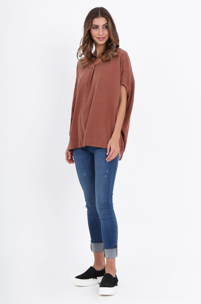 SPS2141-TAN EXTENDED SHOULDER RELAXED FIT TOP view 4