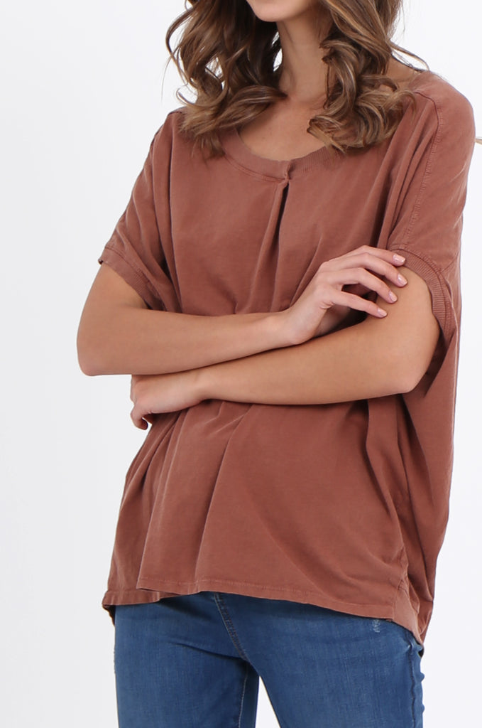 SPS2141-TAN EXTENDED SHOULDER RELAXED FIT TOP view 5