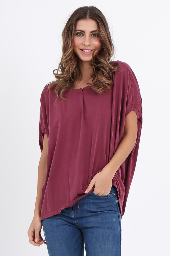 SPS2141-WINE EXTENDED SHOULDER RELAXED FIT TOP