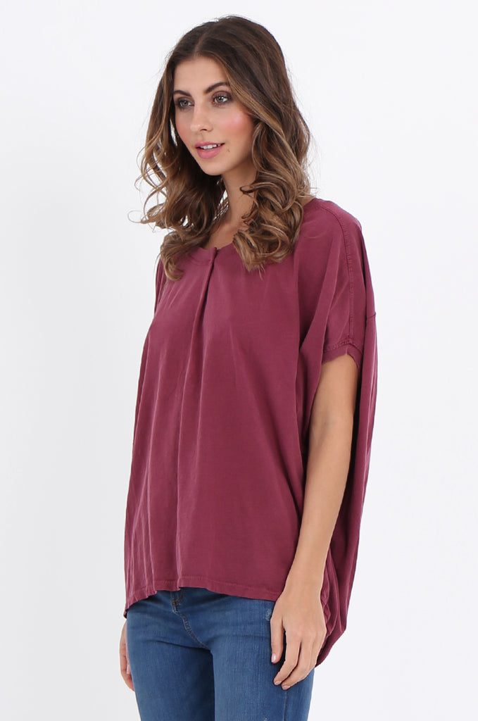 SPS2141-WINE EXTENDED SHOULDER RELAXED FIT TOP view 2