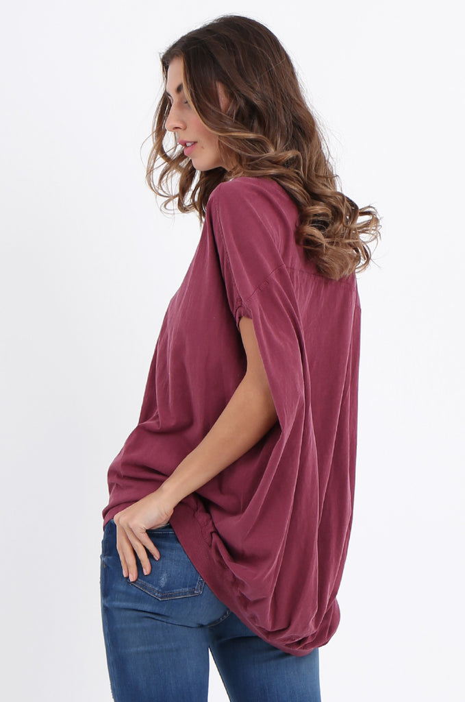 SPS2141-WINE EXTENDED SHOULDER RELAXED FIT TOP view 3