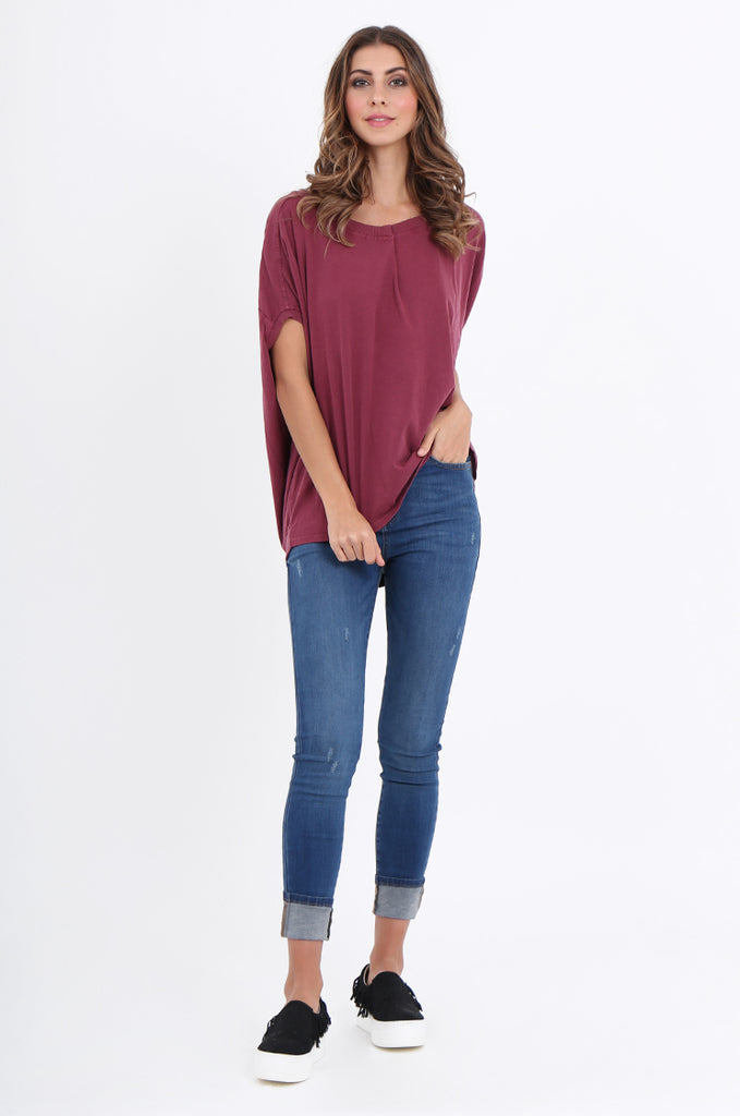 SPS2141-WINE EXTENDED SHOULDER RELAXED FIT TOP view 4