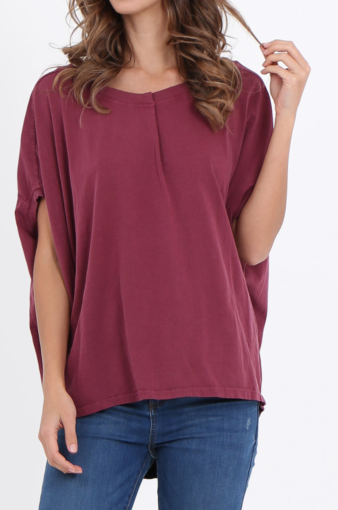 SPS2141-WINE EXTENDED SHOULDER RELAXED FIT TOP view 5