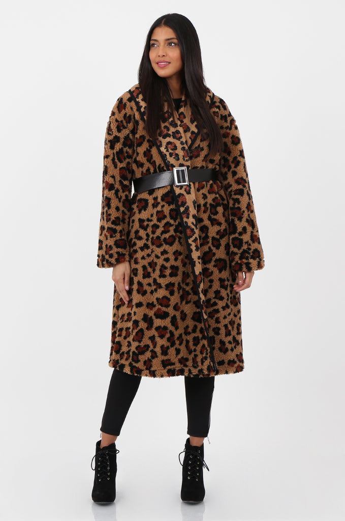SPS2302-TAN ANIMAL PRINT WRAP TEDDY COAT