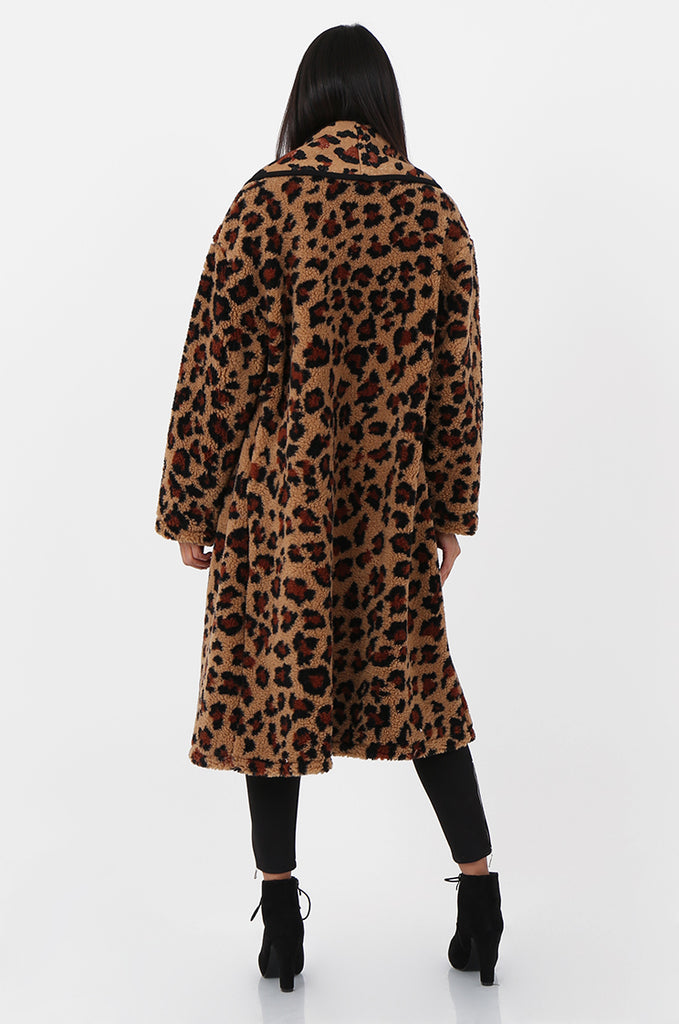 SPS2302-TAN ANIMAL PRINT WRAP TEDDY COAT view 3