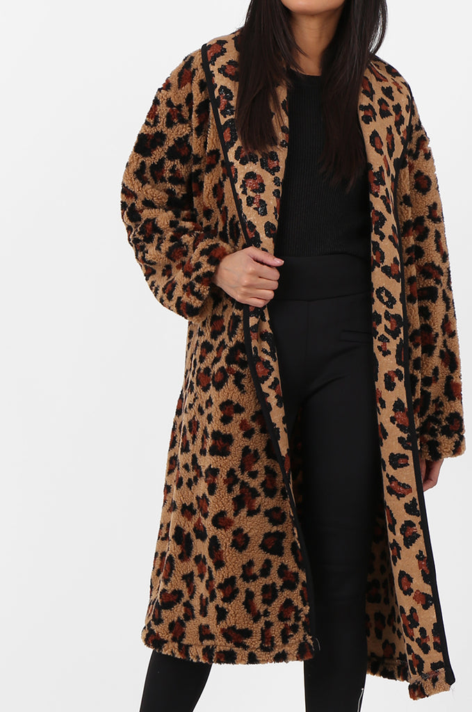 SPS2302-TAN ANIMAL PRINT WRAP TEDDY COAT view 4