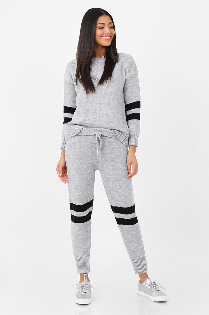 SPS2304-GREY STRIPE KNITTED LOUNGEWEAR SET