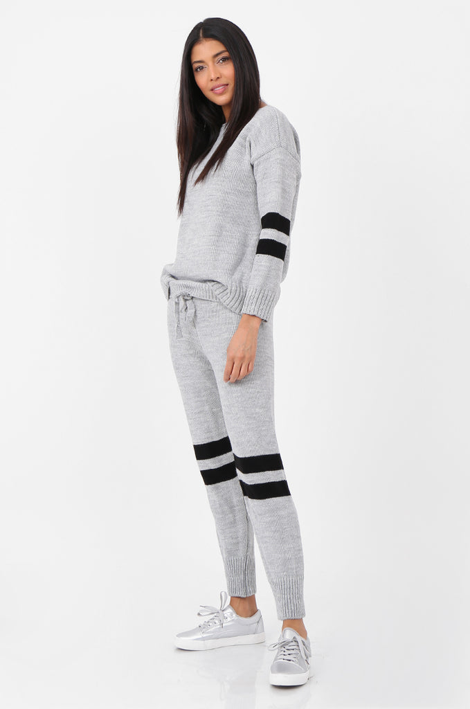 SPS2304-GREY STRIPE KNITTED LOUNGEWEAR SET view 2