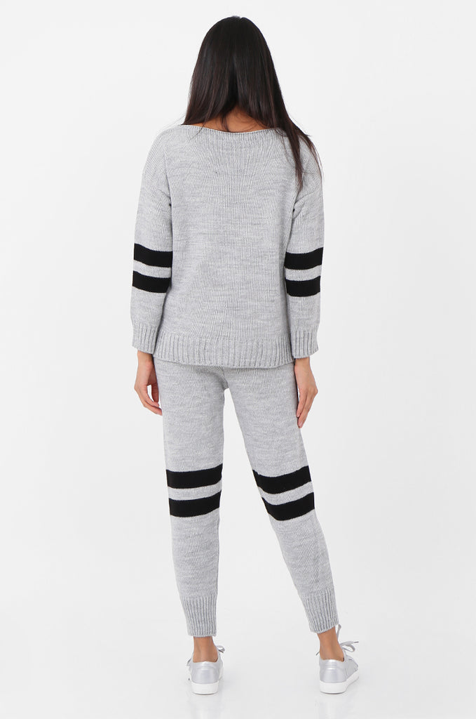 SPS2304-GREY STRIPE KNITTED LOUNGEWEAR SET view 3
