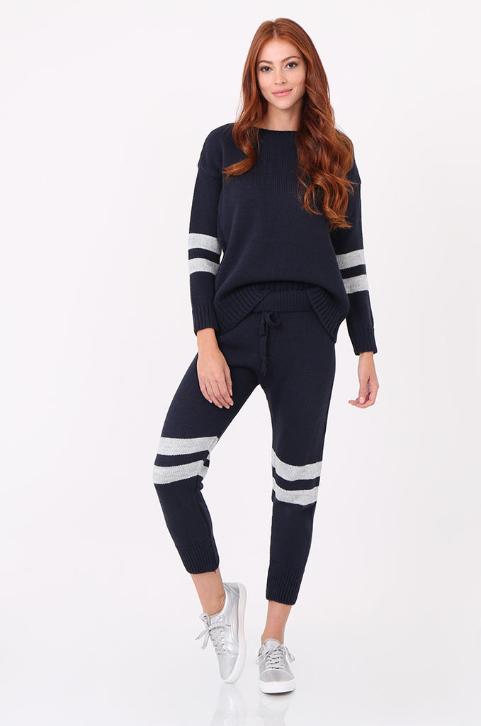 SPS2304-NAVY STRIPE KNITTED LOUNGEWEAR SET