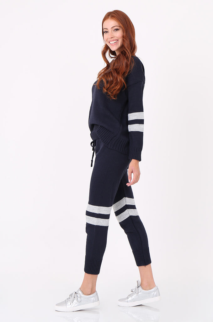 SPS2304-NAVY STRIPE KNITTED LOUNGEWEAR SET view 2