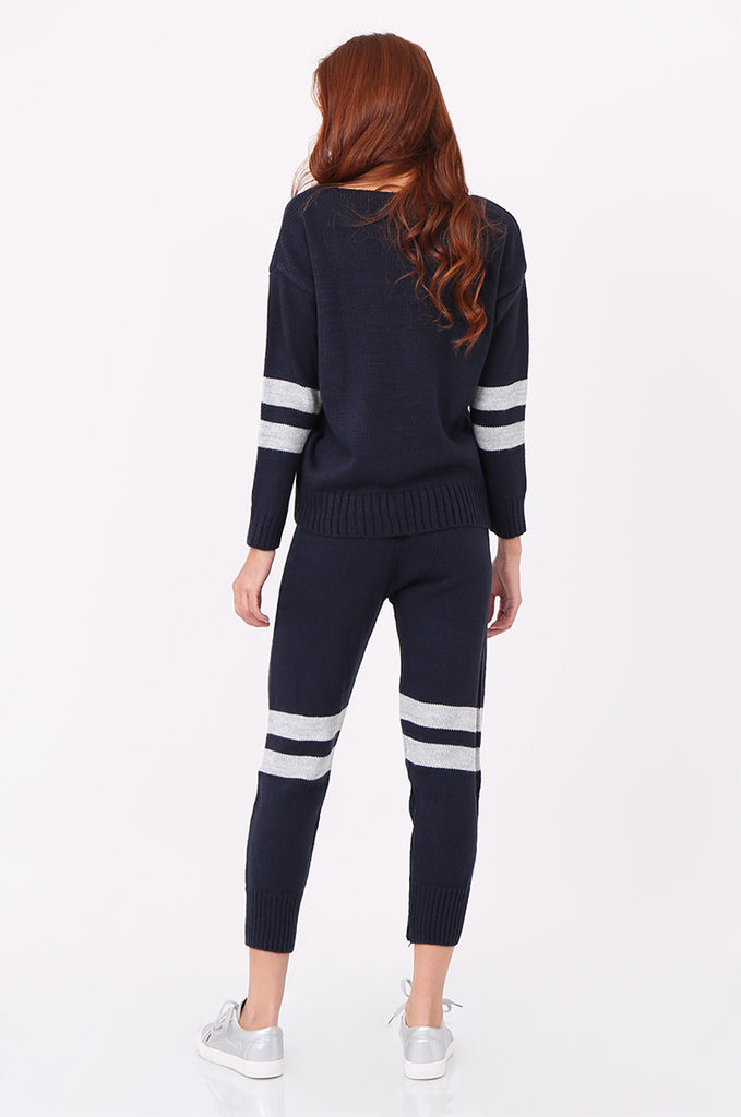 SPS2304-NAVY STRIPE KNITTED LOUNGEWEAR SET view 3