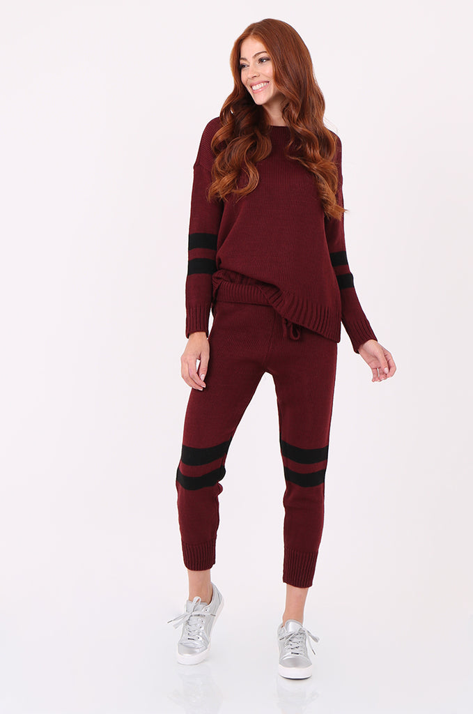 SPS2304-WINE STRIPE KNITTED LOUNGEWEAR SET