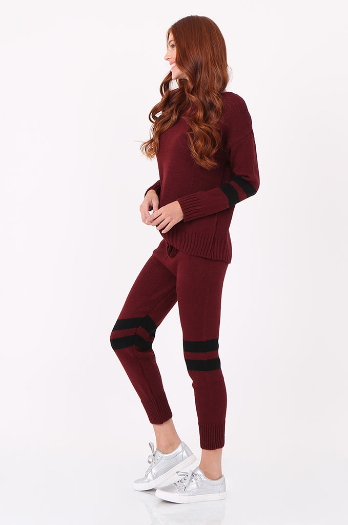 SPS2304-WINE STRIPE KNITTED LOUNGEWEAR SET view 2