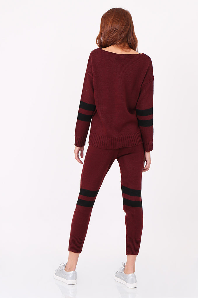 SPS2304-WINE STRIPE KNITTED LOUNGEWEAR SET view 3