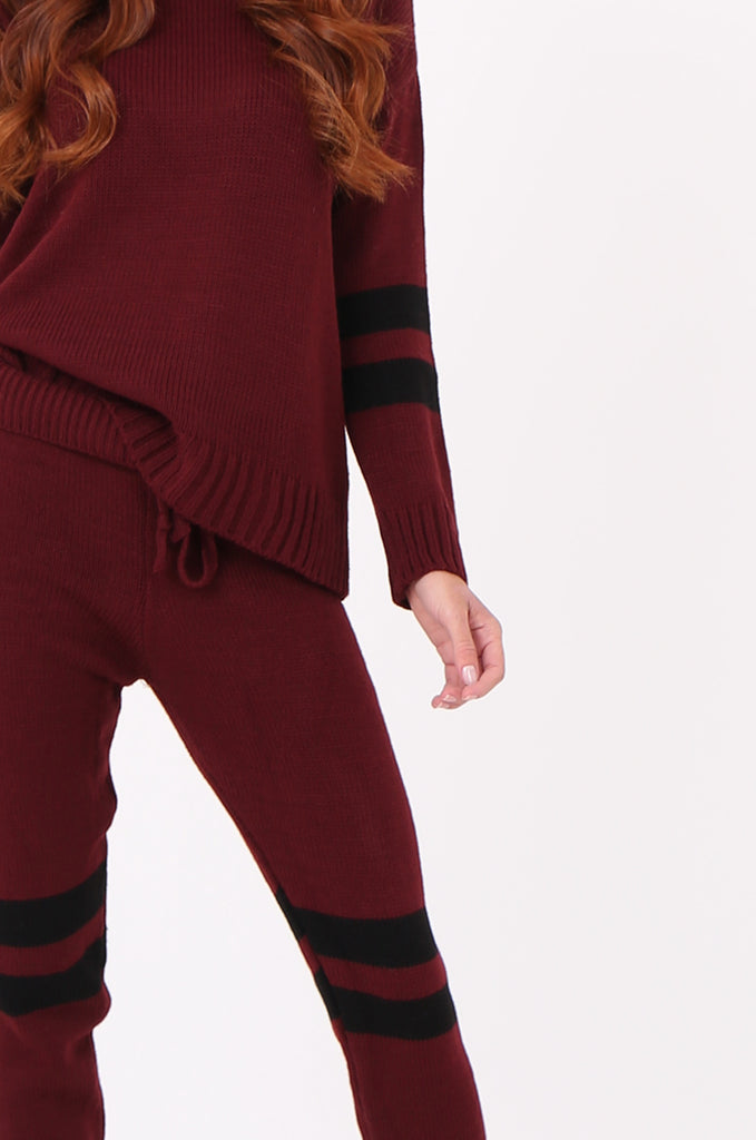 SPS2304-WINE STRIPE KNITTED LOUNGEWEAR SET view 4