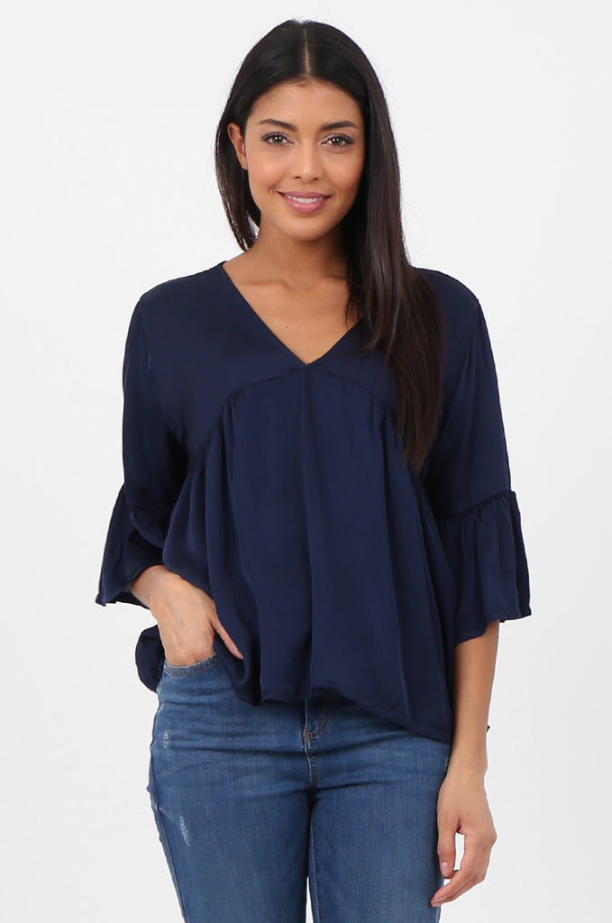 SPS2307-NAVY SILK BLEND BABYDOLL BLOUSE view main view