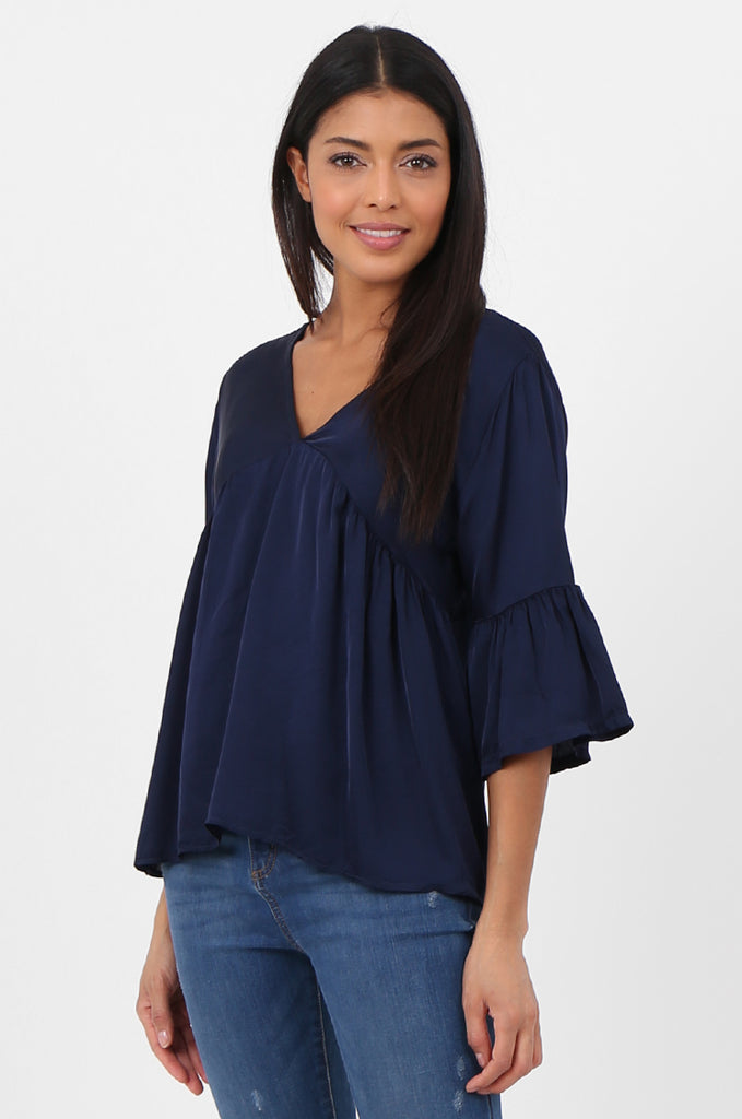 SPS2307-NAVY SILK BLEND BABYDOLL BLOUSE view 2