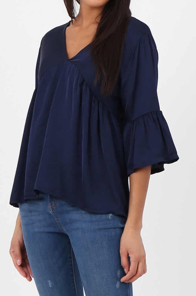 SPS2307-NAVY SILK BLEND BABYDOLL BLOUSE view 5