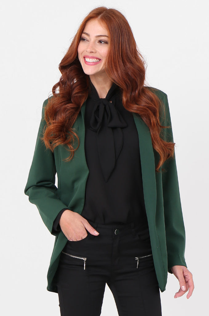 SPS2338-GREEN OPEN FRONT TUXEDO COLLAR BLAZER view main view