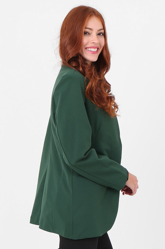 SPS2338-GREEN OPEN FRONT TUXEDO COLLAR BLAZER view 2