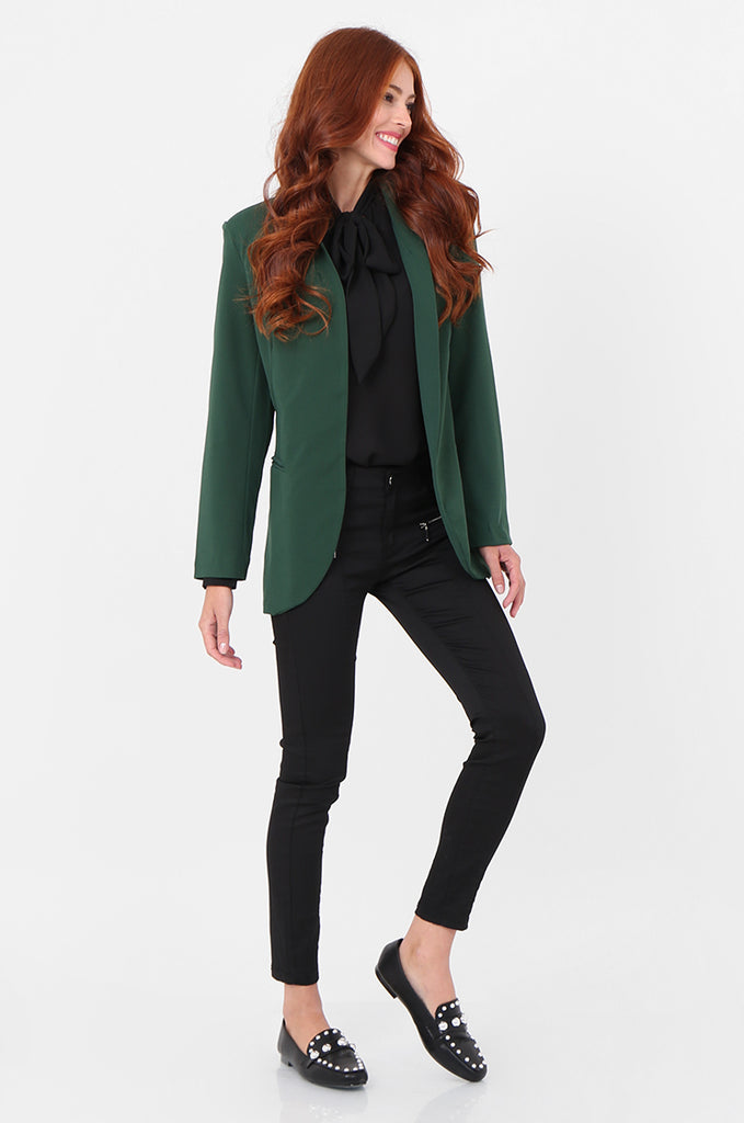 SPS2338-GREEN OPEN FRONT TUXEDO COLLAR BLAZER view 4