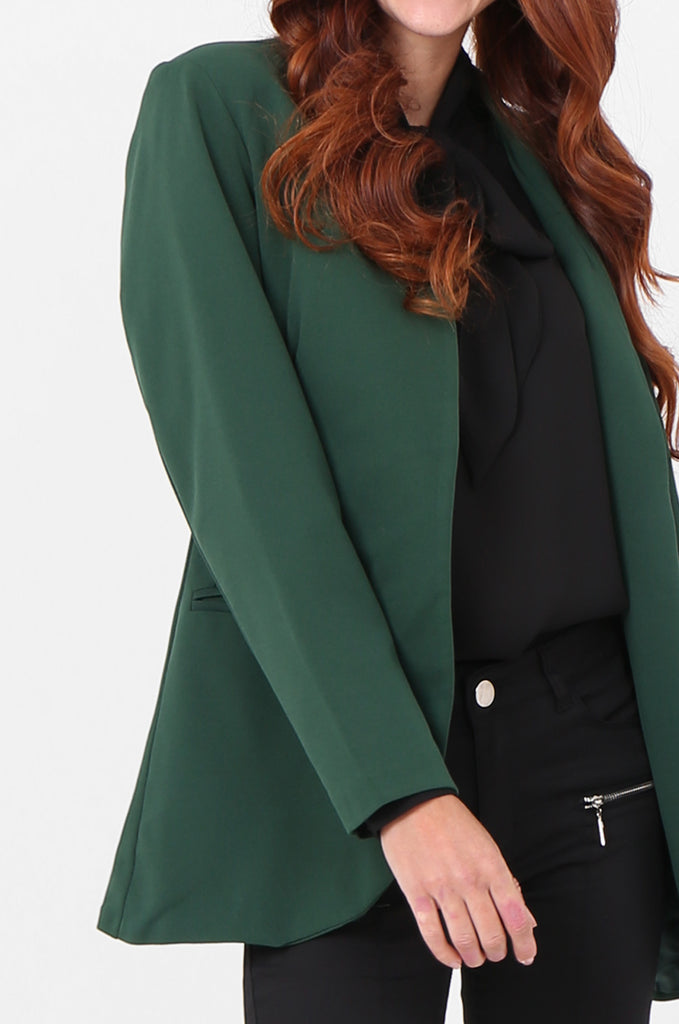 SPS2338-GREEN OPEN FRONT TUXEDO COLLAR BLAZER view 5