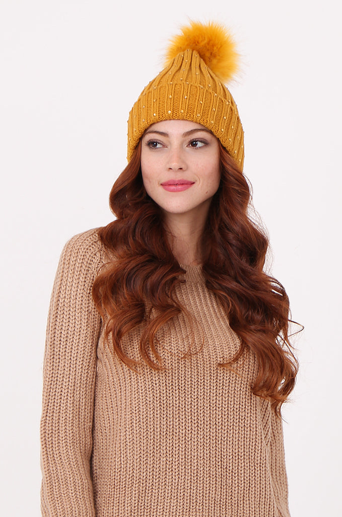 SPS2359-MUSTARD DIAMANTE EMBELLISHED HAT view main view
