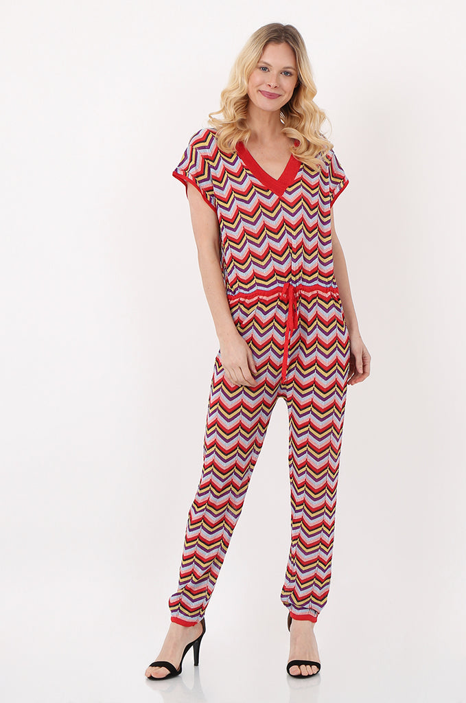 SPS2391-RED METALLIC CHEVRON KNIT JUMPSUIT